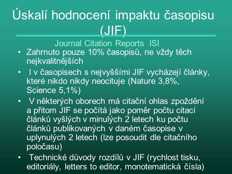 Úskalí hodnocení impaktu časopisu (JIF) Zahrnuto pouze 10% časopisů, ne vždy těch nejkvalitnějších I v časopisech s nejvyššími JIF vycházejí články, k