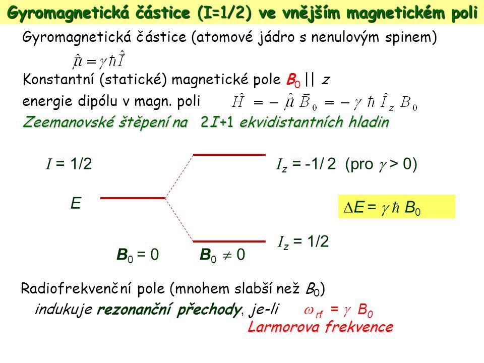 Gyromagnetická částice (atomové jádro s nenulovým spinem) Konstantní (statické) magnetické pole B 0 || z energie dipólu v magn. poli Zeemanovské štěpe