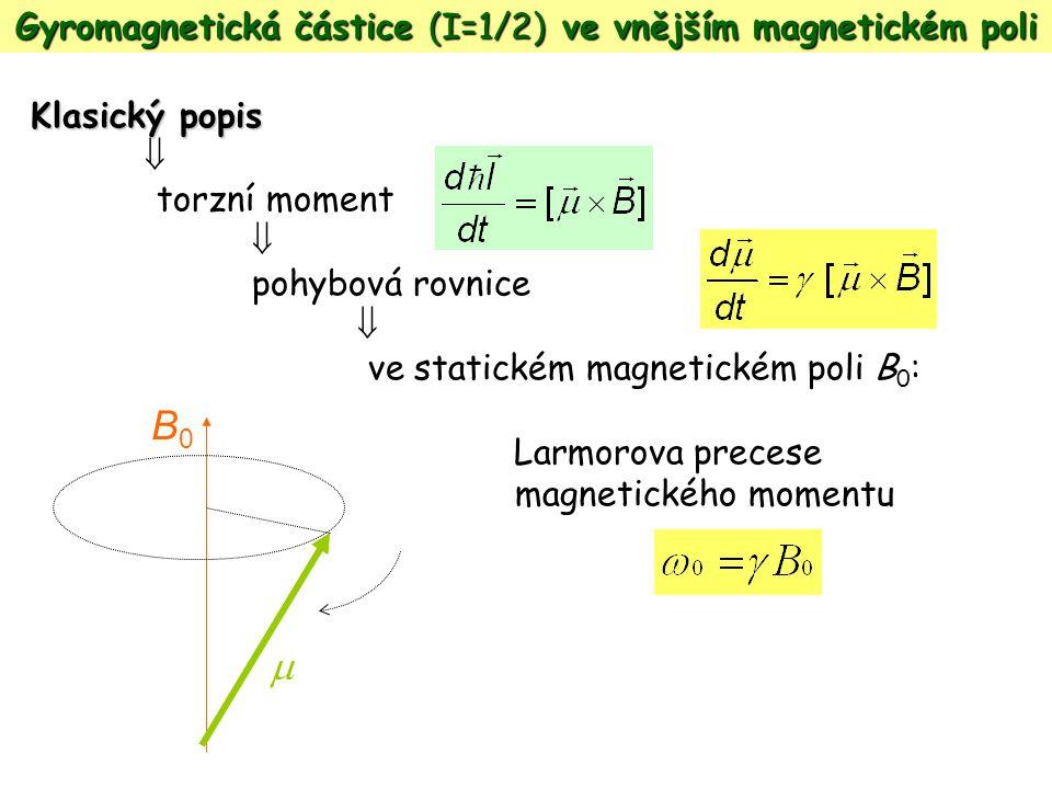 Gyromagnetická částice (I=1/2) ve vnějším magnetickém poli Klasický popis  torzní moment  pohybová rovnice  ve statickém magnetickém poli B 0 : Lar