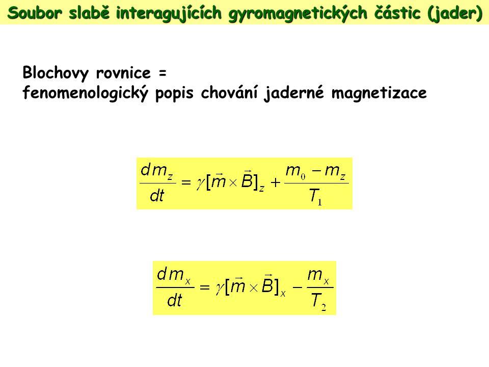 Soubor slabě interagujících gyromagnetických částic (jader) Blochovy rovnice = fenomenologický popis chování jaderné magnetizace