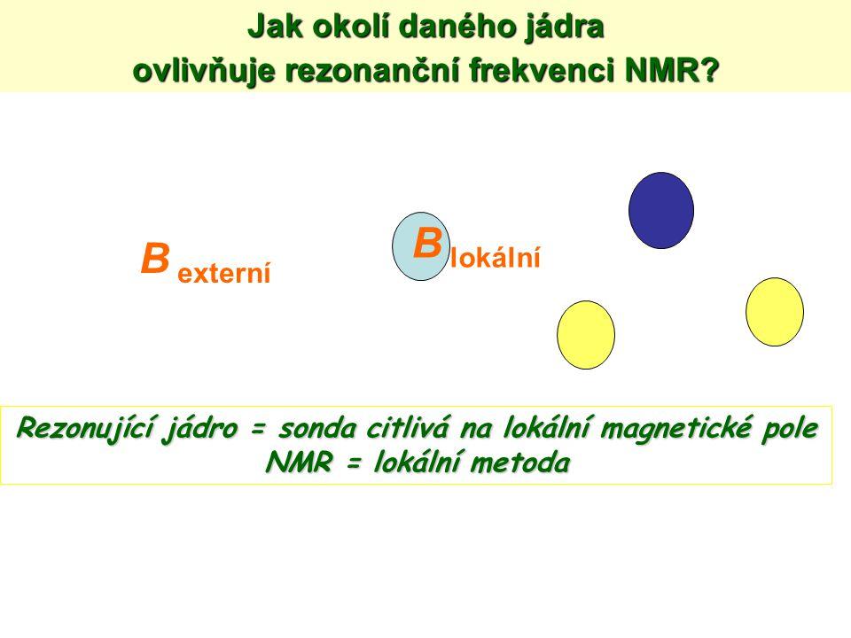 B externí B lokální Rezonující jádro = sonda citlivá na lokální magnetické pole NMR = lokální metoda Jak okolí daného jádra ovlivňuje rezonanční frekv