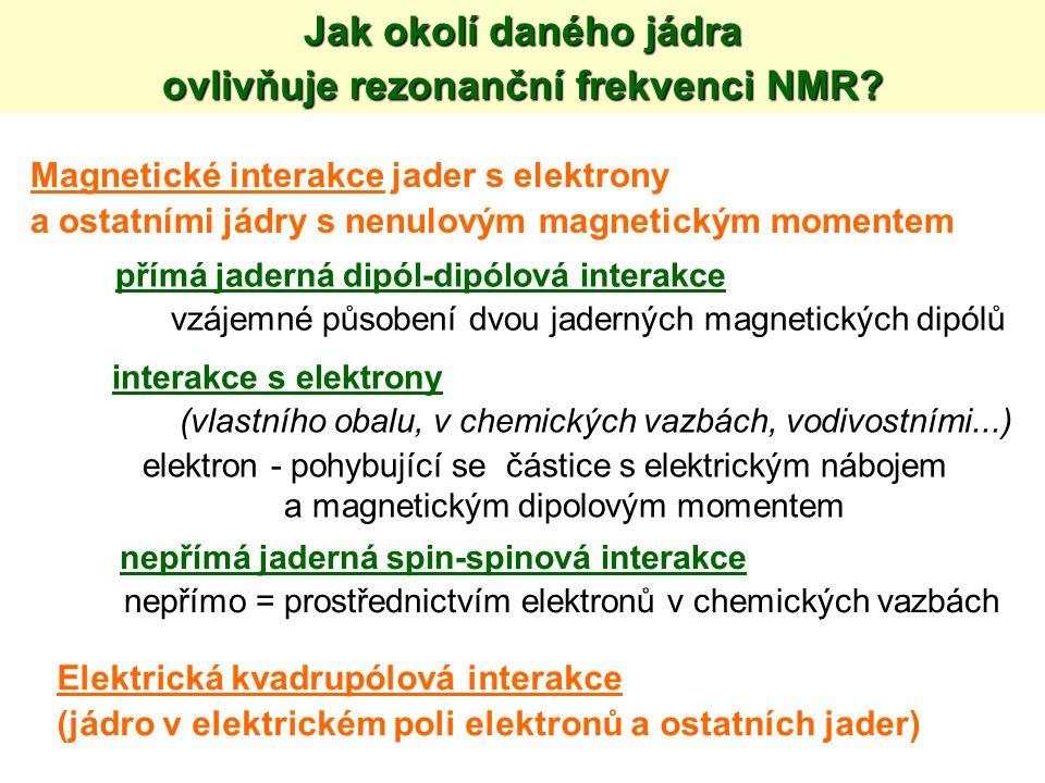 Jak okolí daného jádra ovlivňuje rezonanční frekvenci NMR? Magnetické interakce jader s elektrony a ostatními jádry s nenulovým magnetickým momentem p