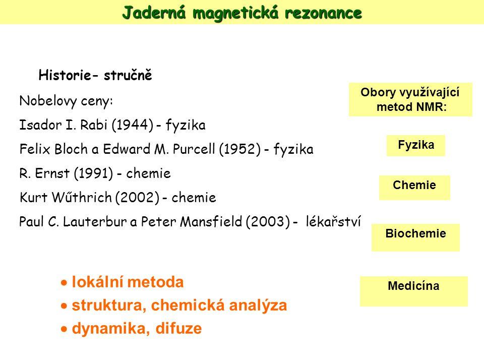 Jaderná magnetická rezonance Historie- stručně Nobelovy ceny: Isador I. Rabi (1944) - fyzika Felix Bloch a Edward M. Purcell (1952) - fyzika R. Ernst