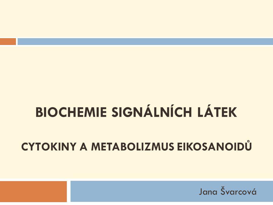 Eikosanoidy  sloučeniny odvozené od polyenových nenasycených mastných kyselin obsahující 20 uhlíkatý řetězec  patří sem:  prostaglandiny  prostacykliny  tromboxany  leukotrieny  lipoxiny  hydroxyeikosatetraenové kyseliny (HETE)  hepoxiliny prostanoidy