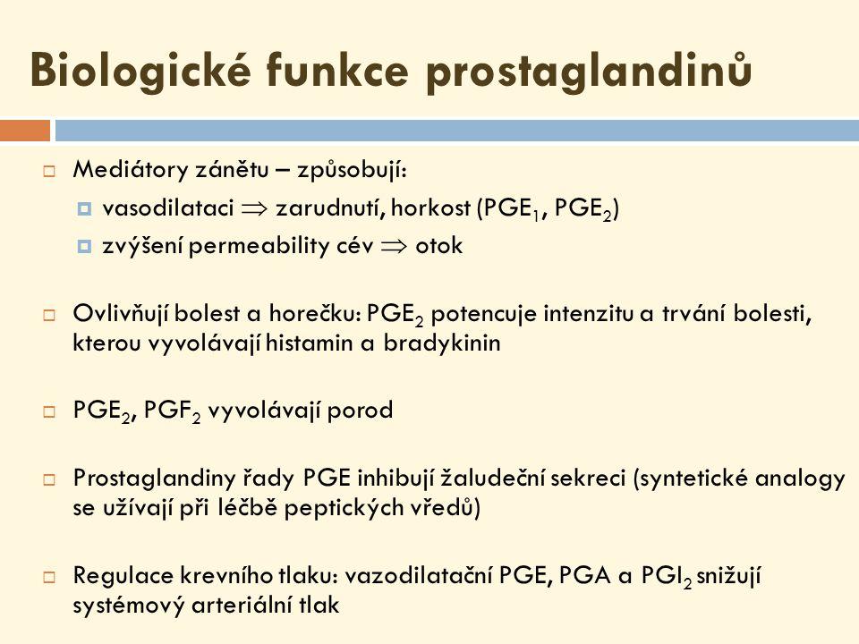 Biologické funkce prostaglandinů  Mediátory zánětu – způsobují:  vasodilataci  zarudnutí, horkost (PGE 1, PGE 2 )  zvýšení permeability cév  otok  Ovlivňují bolest a horečku: PGE 2 potencuje intenzitu a trvání bolesti, kterou vyvolávají histamin a bradykinin  PGE 2, PGF 2 vyvolávají porod  Prostaglandiny řady PGE inhibují žaludeční sekreci (syntetické analogy se užívají při léčbě peptických vředů)  Regulace krevního tlaku: vazodilatační PGE, PGA a PGI 2 snižují systémový arteriální tlak