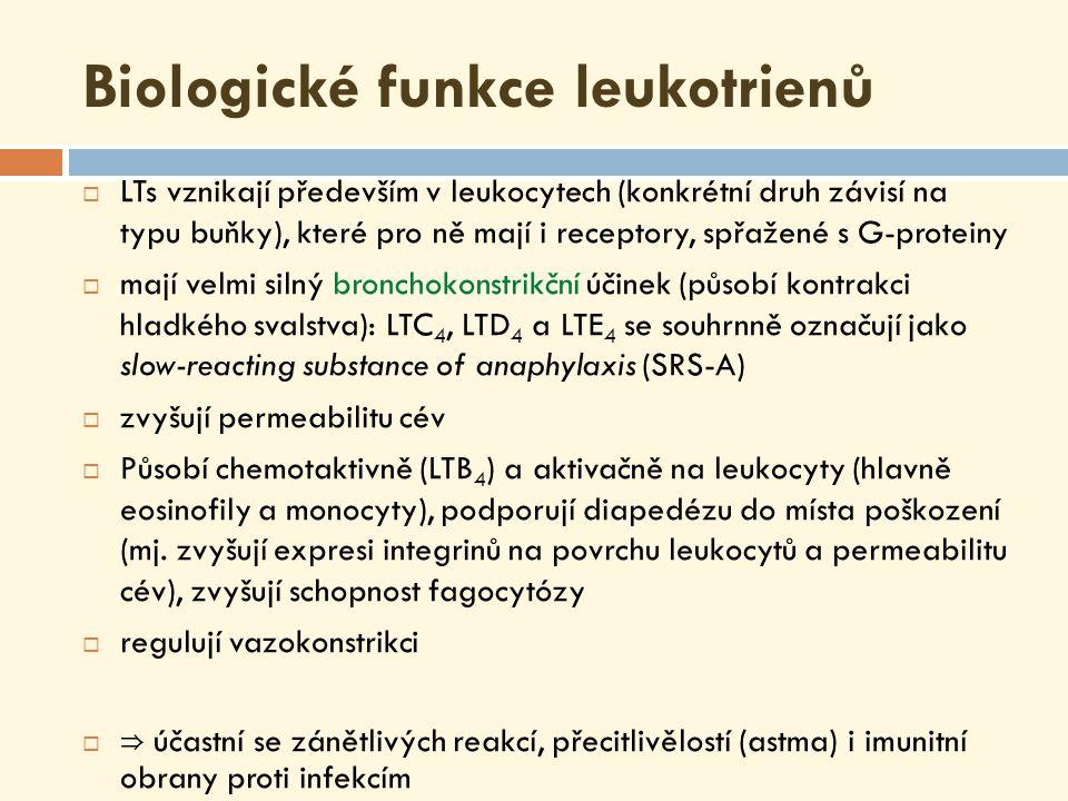 Biologické funkce lipoxinů  Na rozdíl od prozánětlivých eikosanoidů lipoxiny zánětlivou reakci brzdí  Hypotéza: v 1.