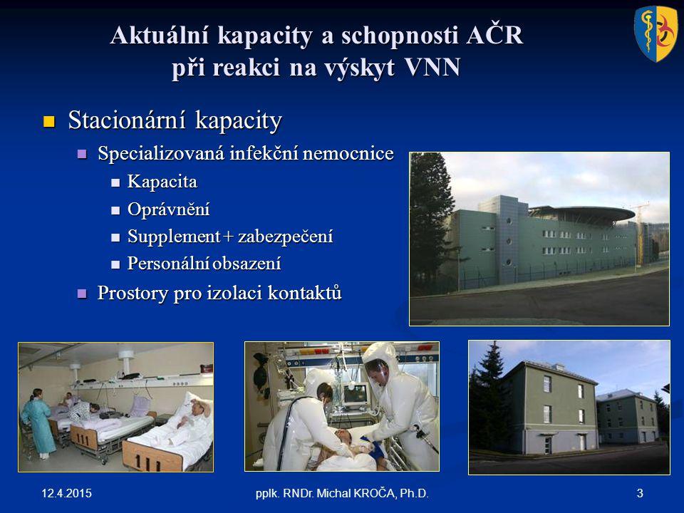 Aktuální kapacity a schopnosti AČR při reakci na výskyt VNN 12.4.2015 3pplk. RNDr. Michal KROČA, Ph.D. Stacionární kapacity Stacionární kapacity Speci