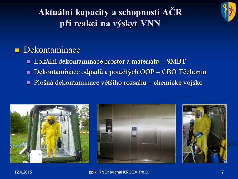 Aktuální kapacity a schopnosti AČR při reakci na výskyt VNN 12.4.2015 7pplk. RNDr. Michal KROČA, Ph.D. Dekontaminace Dekontaminace Lokální dekontamina