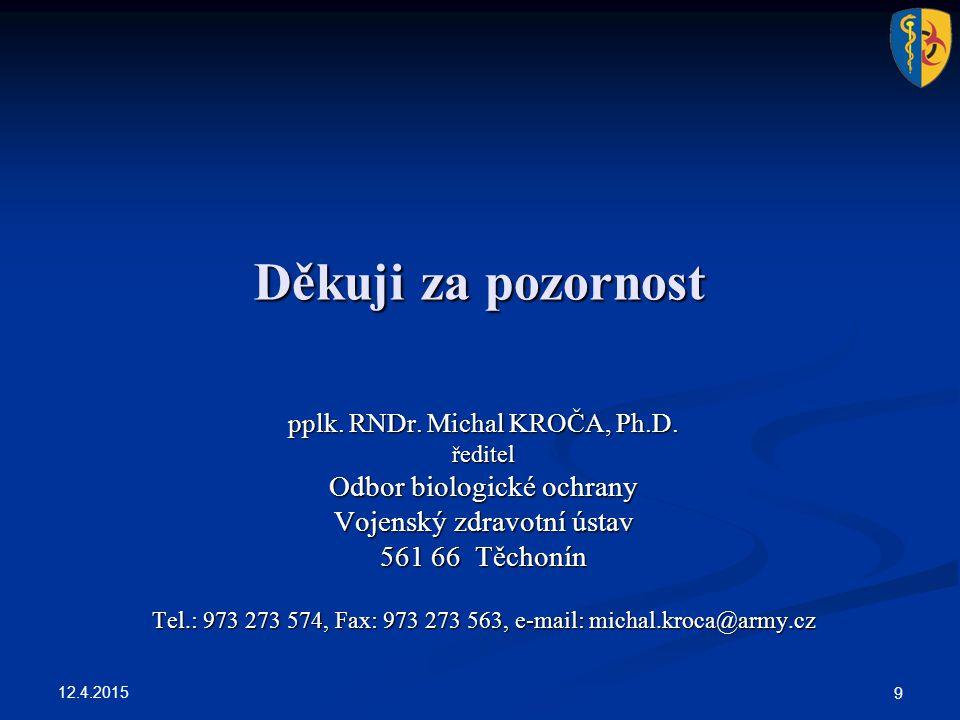 12.4.2015 9 Děkuji za pozornost pplk. RNDr. Michal KROČA, Ph.D. ředitel Odbor biologické ochrany Vojenský zdravotní ústav 561 66 Těchonín Tel.: 973 27