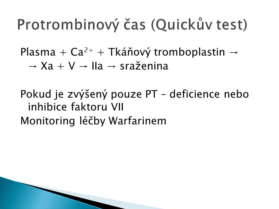Plasma + Ca 2+ + Tkáňový tromboplastin → → Xa + V → IIa → sraženina Pokud je zvýšený pouze PT – deficience nebo inhibice faktoru VII Monitoring léčby