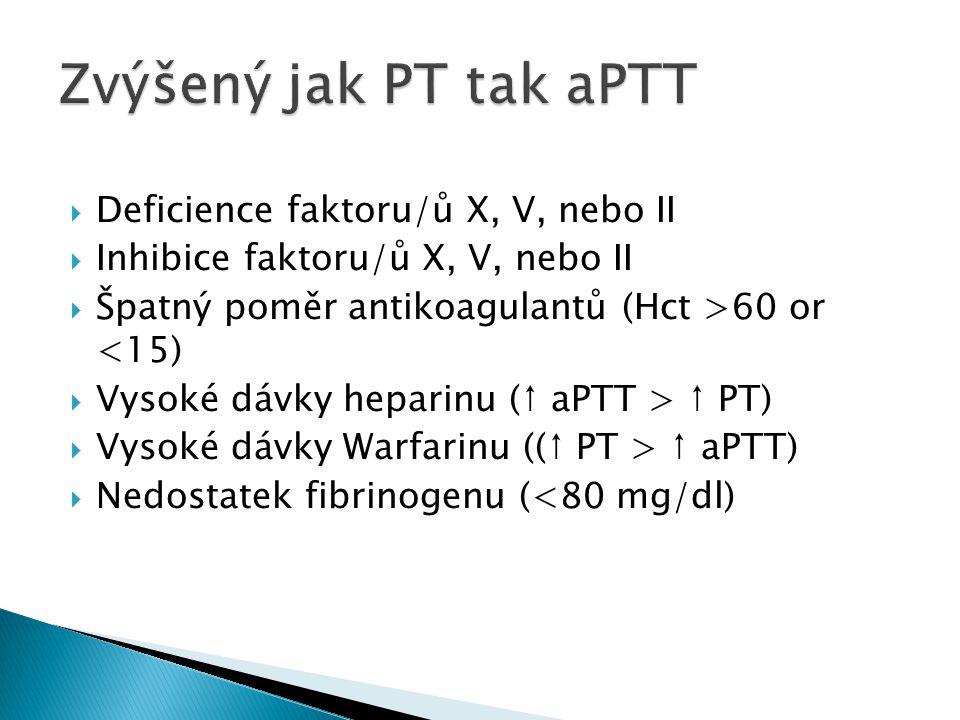 Deficience faktoru/ů X, V, nebo II  Inhibice faktoru/ů X, V, nebo II  Špatný poměr antikoagulantů (Hct >60 or <15)  Vysoké dávky heparinu (↑ aPTT