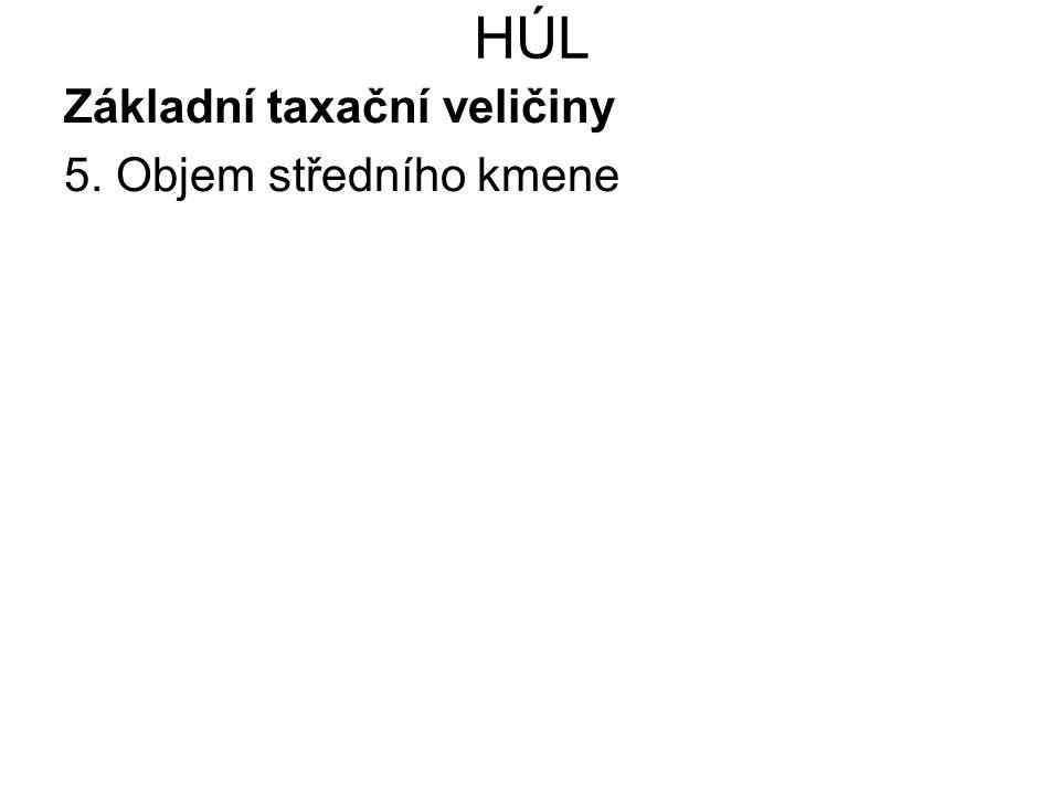 HÚL Základní taxační veličiny 5. Objem středního kmene