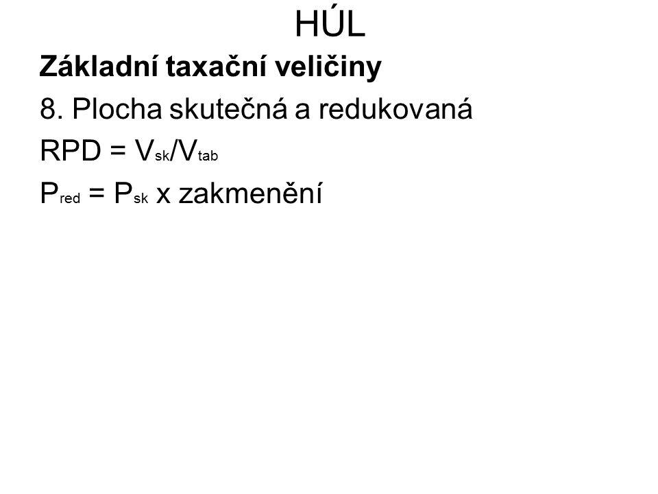 HÚL Základní taxační veličiny 8. Plocha skutečná a redukovaná RPD = V sk /V tab P red = P sk x zakmenění