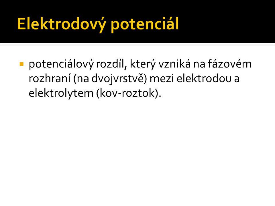  potenciálový rozdíl, který vzniká na fázovém rozhraní (na dvojvrstvě) mezi elektrodou a elektrolytem (kov-roztok).