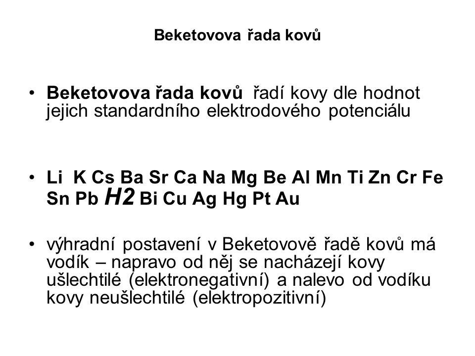 Beketovova řada kovů Beketovova řada kovů řadí kovy dle hodnot jejich standardního elektrodového potenciálu Li K Cs Ba Sr Ca Na Mg Be Al Mn Ti Zn Cr F