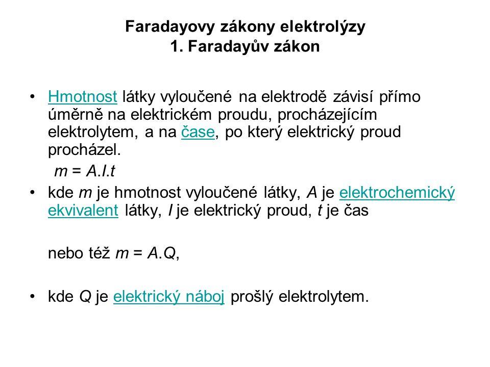 Faradayovy zákony elektrolýzy 1. Faradayův zákon Hmotnost látky vyloučené na elektrodě závisí přímo úměrně na elektrickém proudu, procházejícím elektr