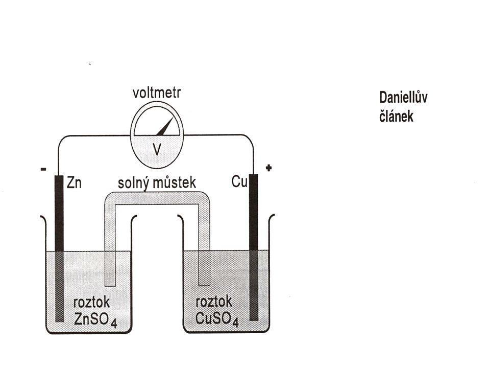 b) elektrolýza ponoříme-li dvě elektrody do vodného roztoku elektrolytu a připojíme – li je ke zdroji el.