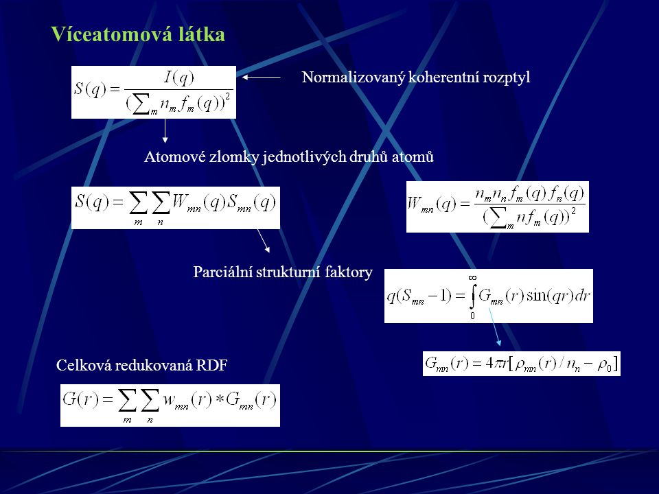 Požadavky na experiment Úzké energetické pásmo Velký interval q Potlačení pozadí Monochromátor Určení přenosové funkce monochromátoru Pro určení parciálních RDA je třeba provést nezávislé experimenty Kombinace rtg, neutronové a elektronové difrakce Kombinace jaderného rozptylu neutronů a rtg difrakce Izotopová substituce Kombinace jaderného a magnetického rozptylu neutronů a rtg difrakce Izomorfní substituce Koncentrační metoda