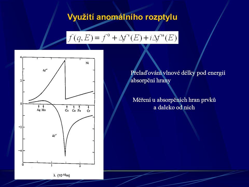 Využití anomálního rozptylu Přelaďování vlnové délky pod energií absorpční hrany Měření u absorpčních hran prvků a daleko od nich