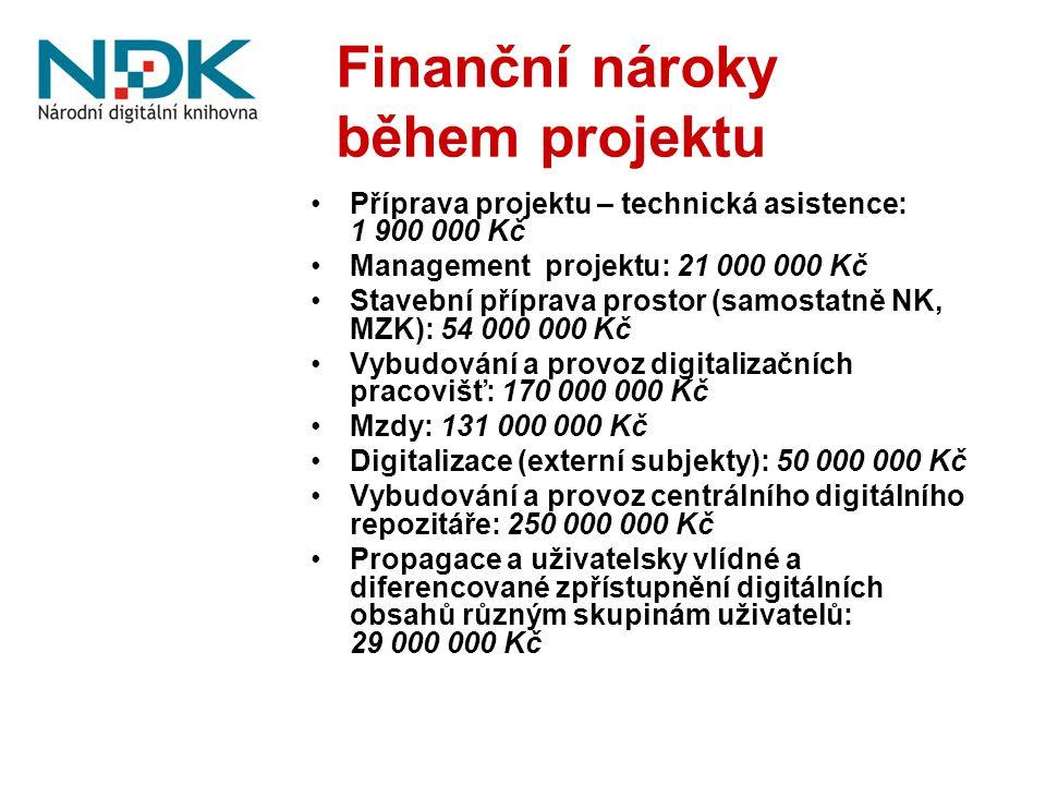 Finanční nároky během projektu Příprava projektu – technická asistence: 1 900 000 Kč Management projektu: 21 000 000 Kč Stavební příprava prostor (sam