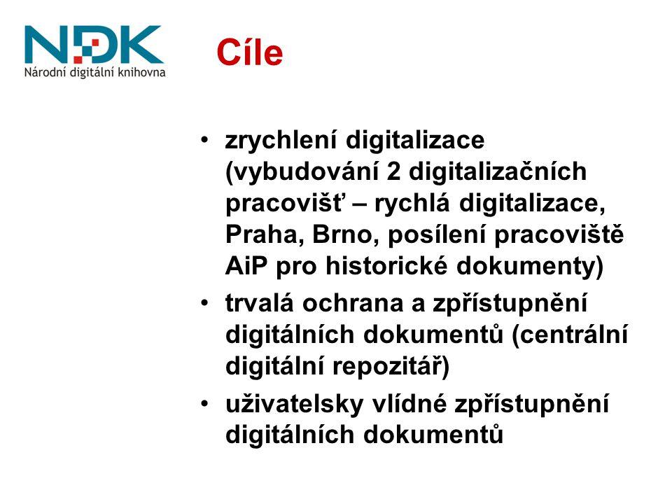 Cíle zrychlení digitalizace (vybudování 2 digitalizačních pracovišť – rychlá digitalizace, Praha, Brno, posílení pracoviště AiP pro historické dokumen