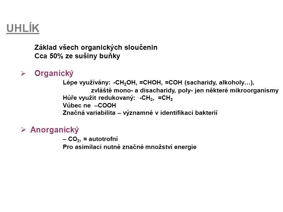 UHLÍK Základ všech organických sloučenin Cca 50% ze sušiny buňky  Organický Lépe využívány: -CH 2 OH, =CHOH, =COH (sacharidy, alkoholy…), zvláště mon