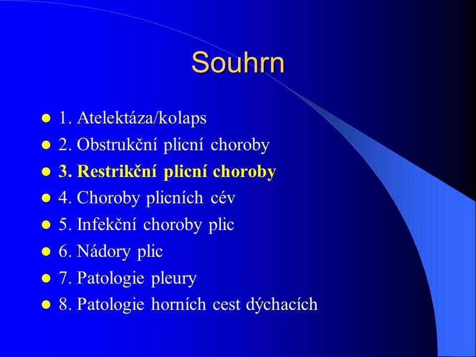 Souhrn 1. Atelektáza/kolaps 2. Obstrukční plicní choroby 3. Restrikční plicní choroby 4. Choroby plicních cév 5. Infekční choroby plic 6. Nádory plic