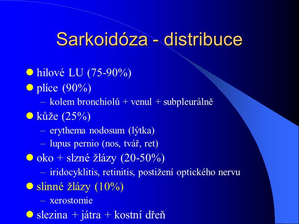 Sarkoidóza - distribuce hilové LU (75-90%) plíce (90%) –kolem bronchiolů + venul + subpleurálně kůže (25%) –erythema nodosum (lýtka) –lupus pernio (no