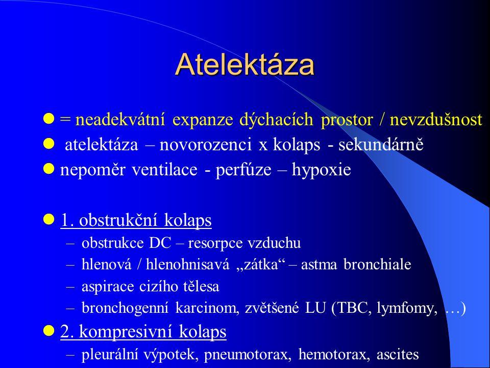 Atelektáza = neadekvátní expanze dýchacích prostor / nevzdušnost atelektáza – novorozenci x kolaps - sekundárně nepoměr ventilace - perfúze – hypoxie