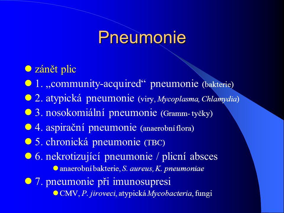 "Pneumonie zánět plic 1. ""community-acquired"" pneumonie (bakterie) 2. atypická pneumonie (viry, Mycoplasma, Chlamydia) 3. nosokomiální pneumonie (Gramm"