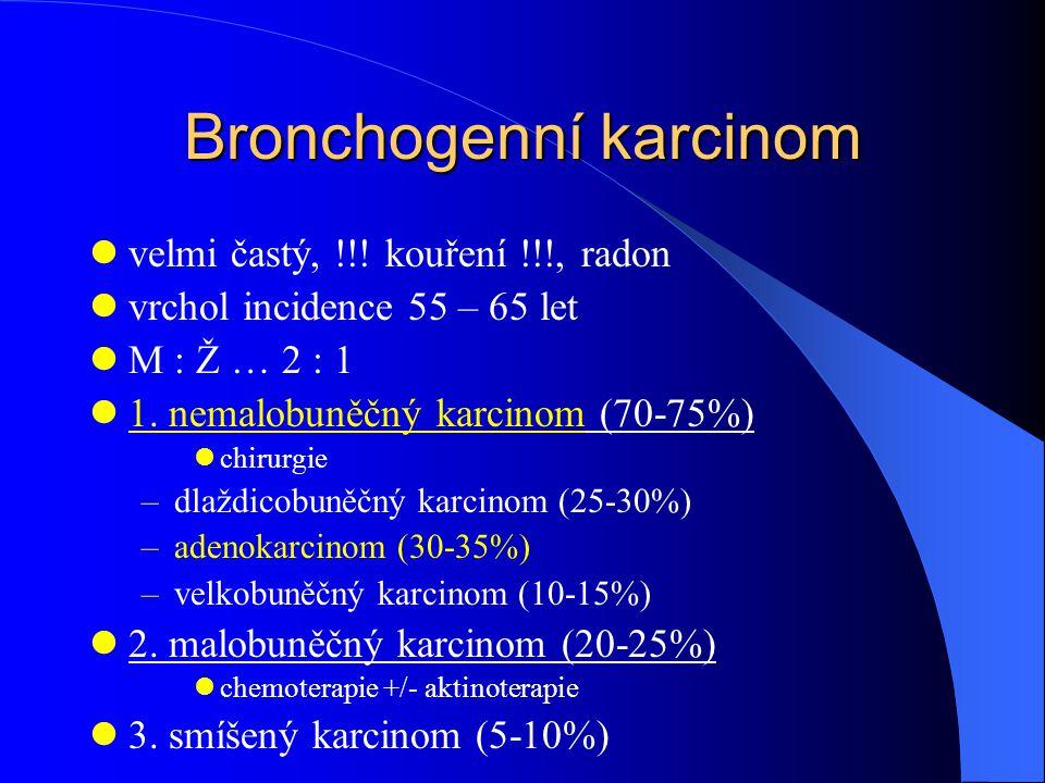 Bronchogenní karcinom velmi častý, !!! kouření !!!, radon vrchol incidence 55 – 65 let M : Ž … 2 : 1 1. nemalobuněčný karcinom (70-75%) chirurgie –dla