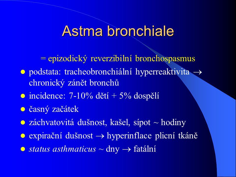 Astma bronchiale = epizodický reverzibilní bronchospasmus podstata: tracheobronchiální hyperreaktivita  chronický zánět bronchů incidence: 7-10% dětí + 5% dospělí časný začátek záchvatovitá dušnost, kašel, sípot ~ hodiny expirační dušnost  hyperinflace plicní tkáně status asthmaticus ~ dny  fatální