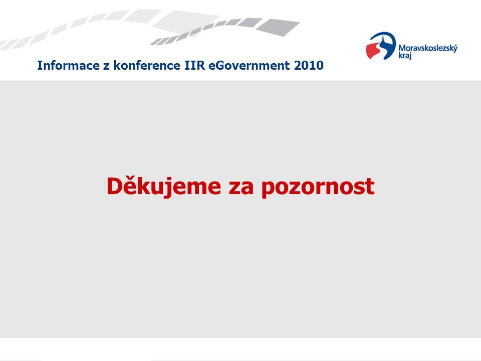 Informace z konference IIR eGovernment 2010 Děkujeme za pozornost