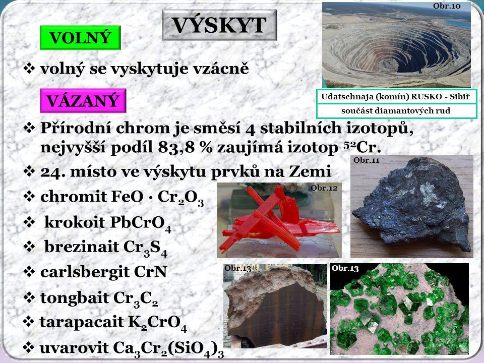 VÝSKYT VOLNÝ VÁZANÝ  volný se vyskytuje vzácně  Přírodní chrom je směsí 4 stabilních izotopů, nejvyšší podíl 83,8 % zaujímá izotop 52 Cr.