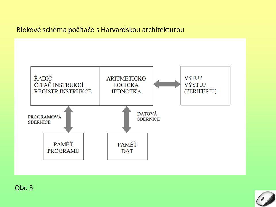 Blokové schéma počítače s Harvardskou architekturou Obr. 3