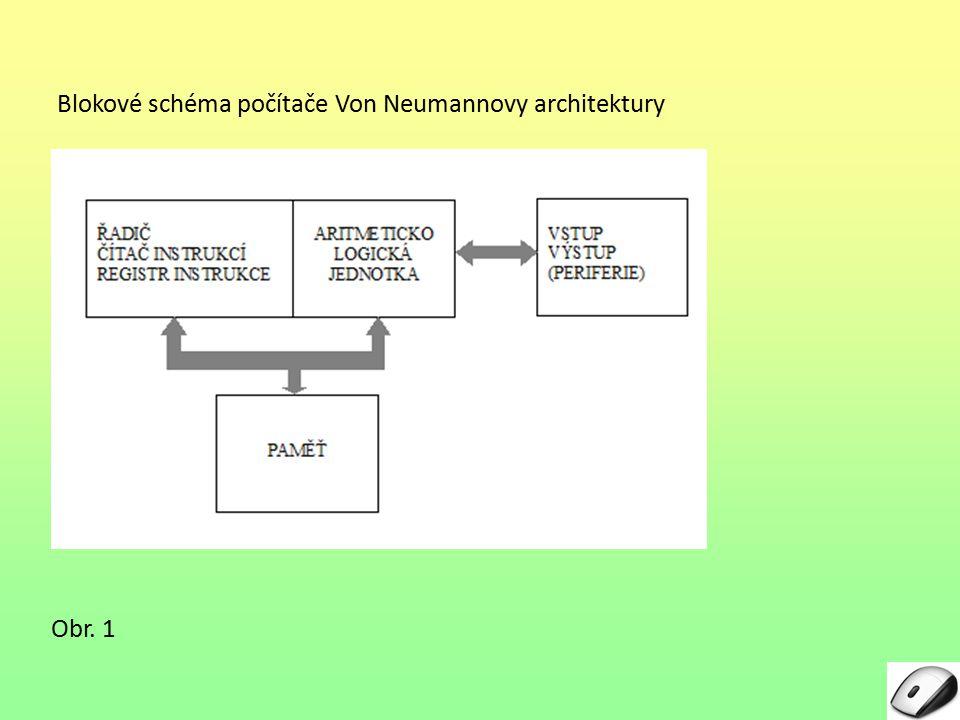 Blokové schéma počítače Von Neumannovy architektury Obr. 1