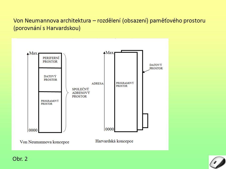 Von Neumannova architektura – rozdělení (obsazení) paměťového prostoru (porovnání s Harvardskou) Obr.