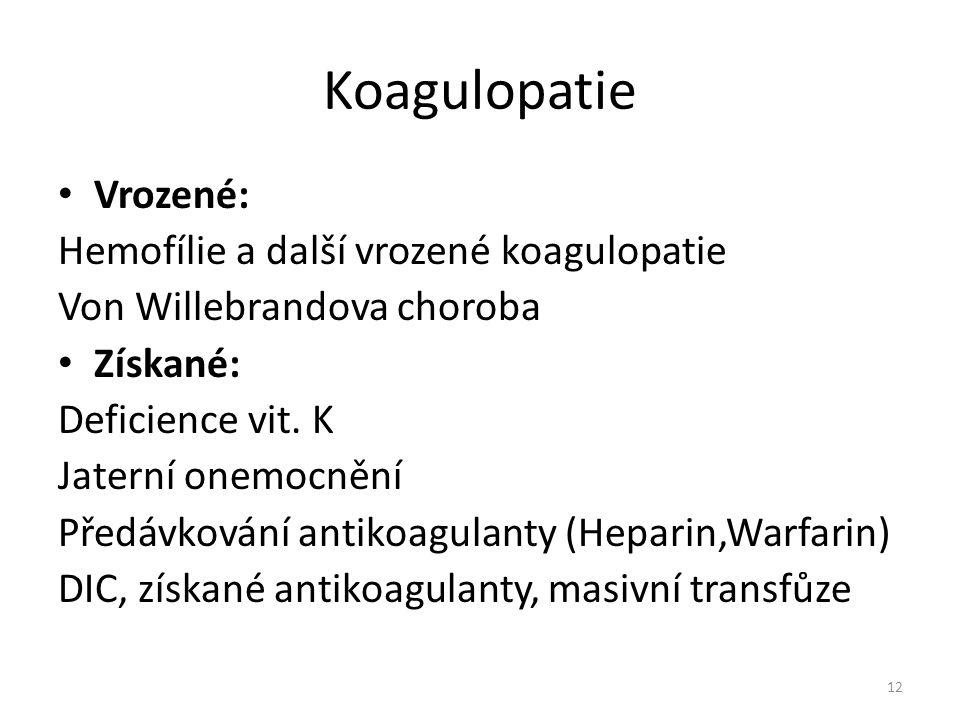 Koagulopatie Vrozené: Hemofílie a další vrozené koagulopatie Von Willebrandova choroba Získané: Deficience vit. K Jaterní onemocnění Předávkování anti