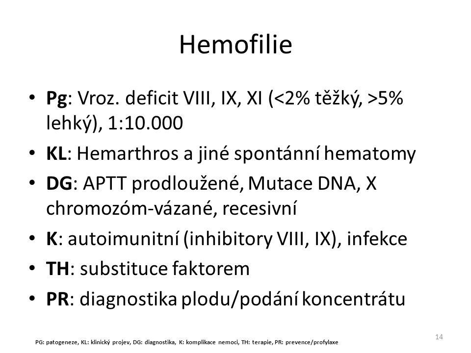 Hemofilie Pg: Vroz. deficit VIII, IX, XI ( 5% lehký), 1:10.000 KL: Hemarthros a jiné spontánní hematomy DG: APTT prodloužené, Mutace DNA, X chromozóm-