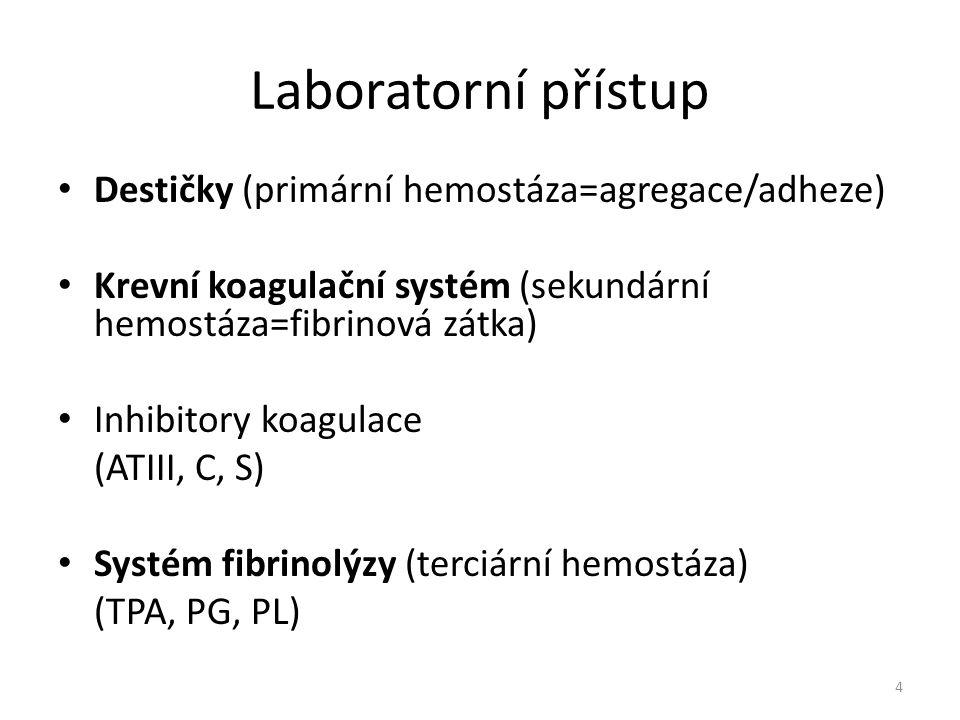 Laboratorní přístup Destičky (primární hemostáza=agregace/adheze) Krevní koagulační systém (sekundární hemostáza=fibrinová zátka) Inhibitory koagulace
