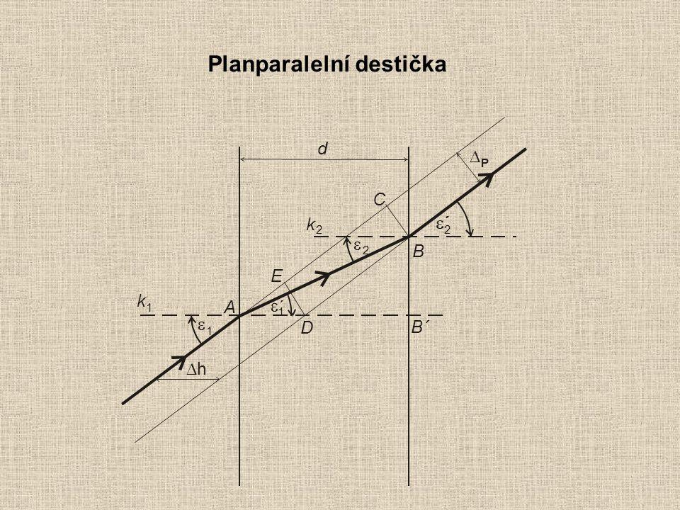Planparalelní destička  1 2 2   ´ 1 A B C E D B´  hh P k k 1 2 d