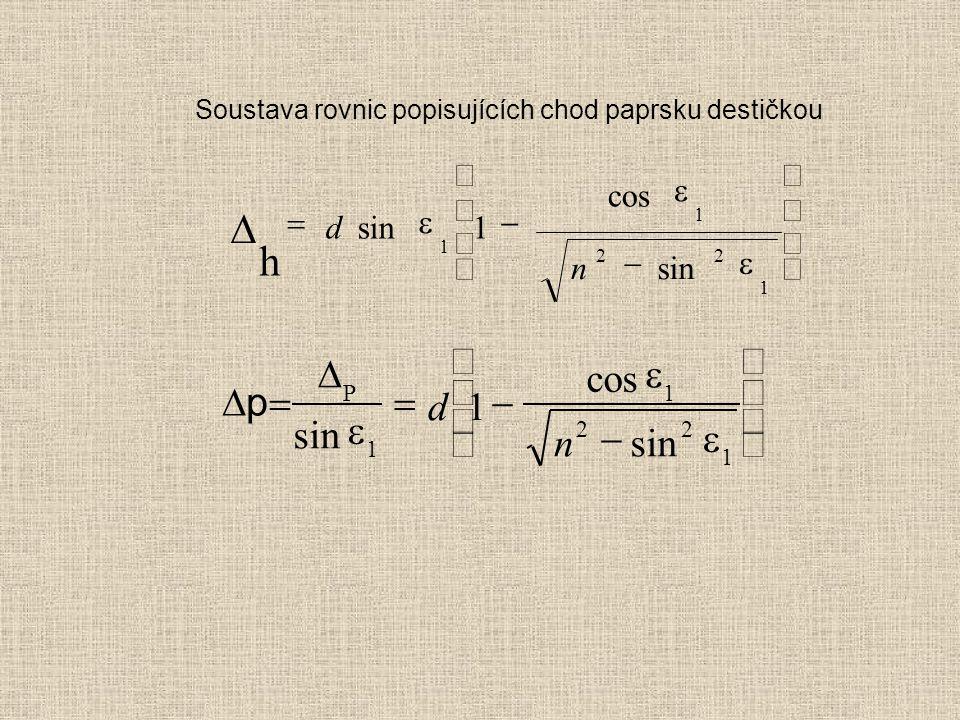 Soustava rovnic popisujících chod paprsku destičkou  h 1 1 22 1 1           d n sin cos sin    pp            P 1 1 22 1