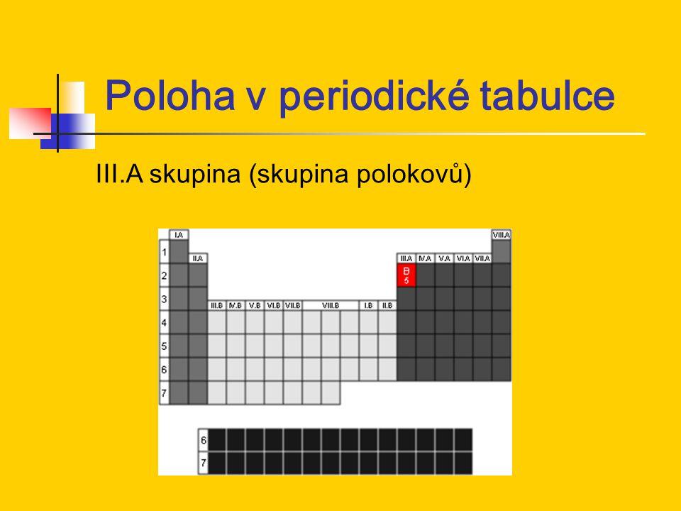 Poloha v periodické tabulce III.A skupina (skupina polokovů)
