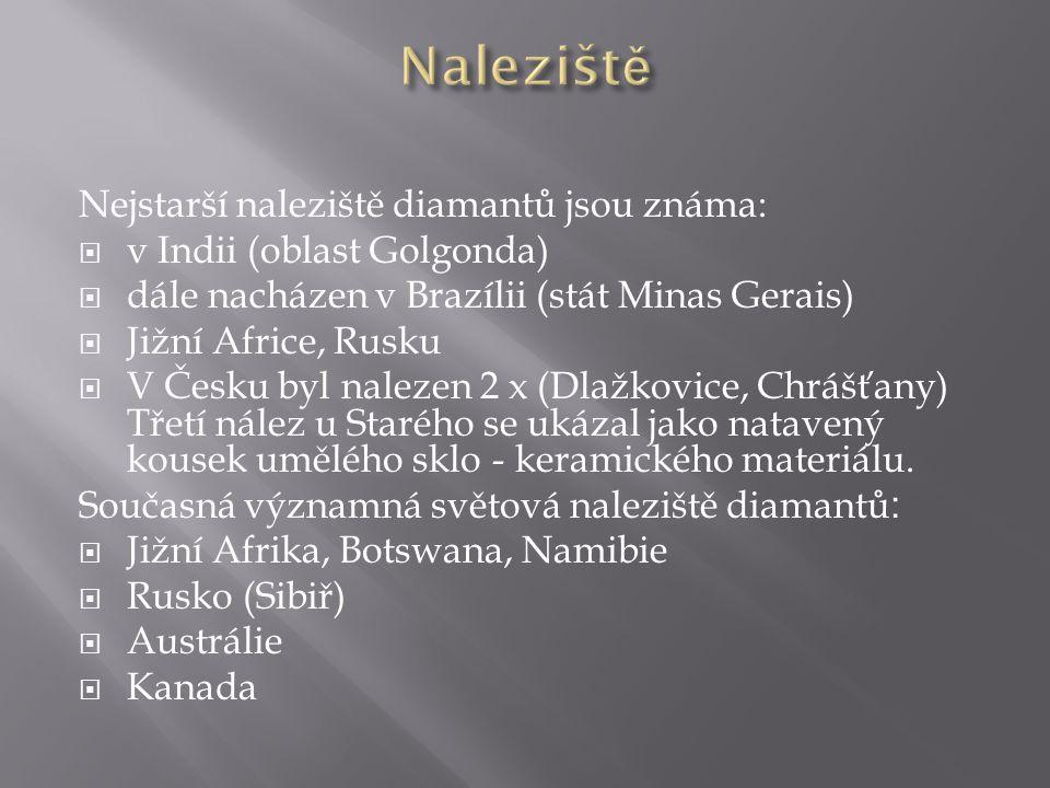 Nejstarší naleziště diamantů jsou známa:  v Indii (oblast Golgonda)  dále nacházen v Brazílii (stát Minas Gerais)  Jižní Africe, Rusku  V Česku by