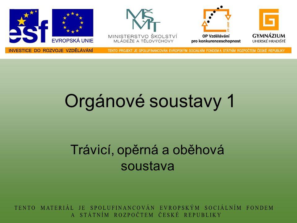 Orgánové soustavy 1 Trávicí, opěrná a oběhová soustava