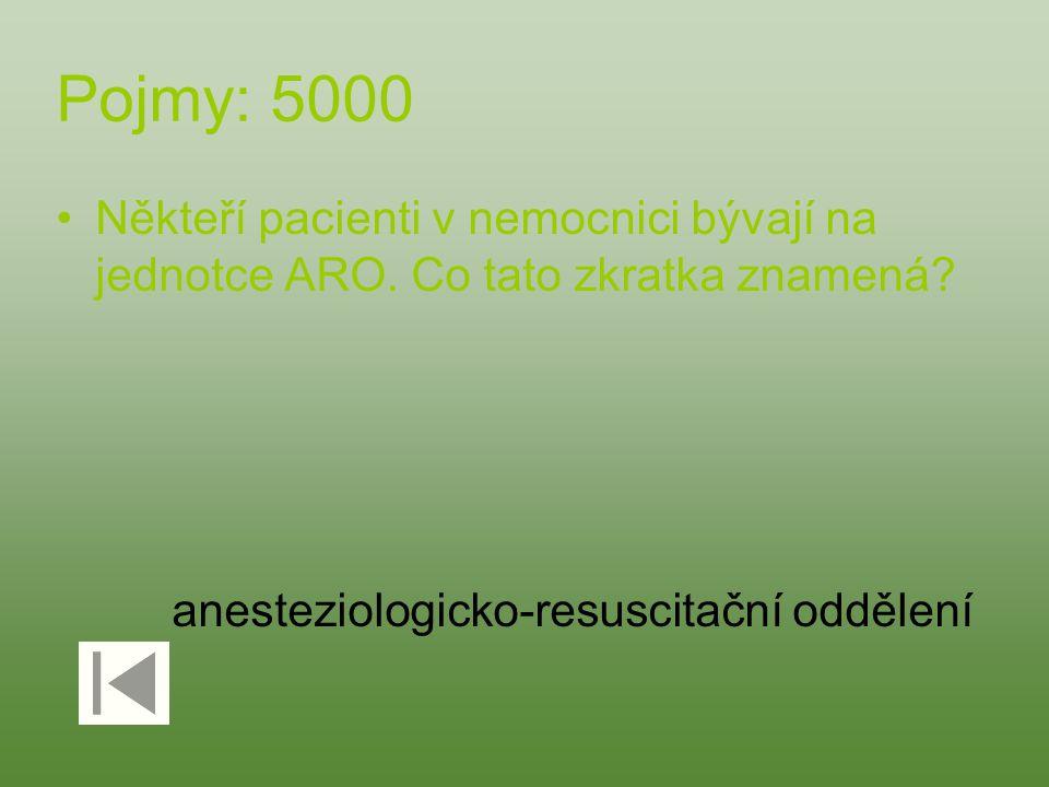 Pojmy: 5000 Někteří pacienti v nemocnici bývají na jednotce ARO. Co tato zkratka znamená? anesteziologicko-resuscitační oddělení