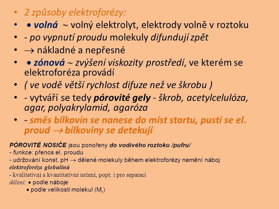 2 způsoby elektroforézy:  volná  volný elektrolyt, elektrody volně v roztoku - po vypnutí proudu molekuly difundují zpět  nákladné a nepřesné  zónová  zvýšení viskozity prostředí, ve kterém se elektroforéza provádí ( ve vodě větší rychlost difuze než ve škrobu ) - vytváří se tedy pórovité gely - škrob, acetylcelulóza, agar, polyakrylamid, agaróza - směs bílkovin se nanese do míst startu, pustí se el.