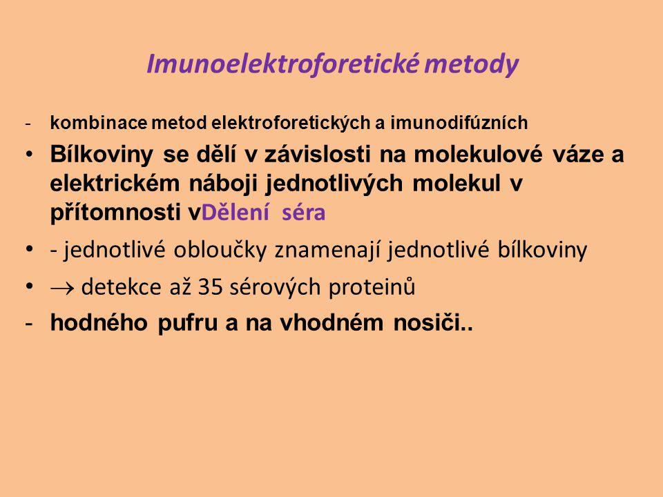Imunoelektroforetické metody -kombinace metod elektroforetických a imunodifúzních Bílkoviny se dělí v závislosti na molekulové váze a elektrickém náboji jednotlivých molekul v přítomnosti v Dělení séra - jednotlivé obloučky znamenají jednotlivé bílkoviny  detekce až 35 sérových proteinů -hodného pufru a na vhodném nosiči..