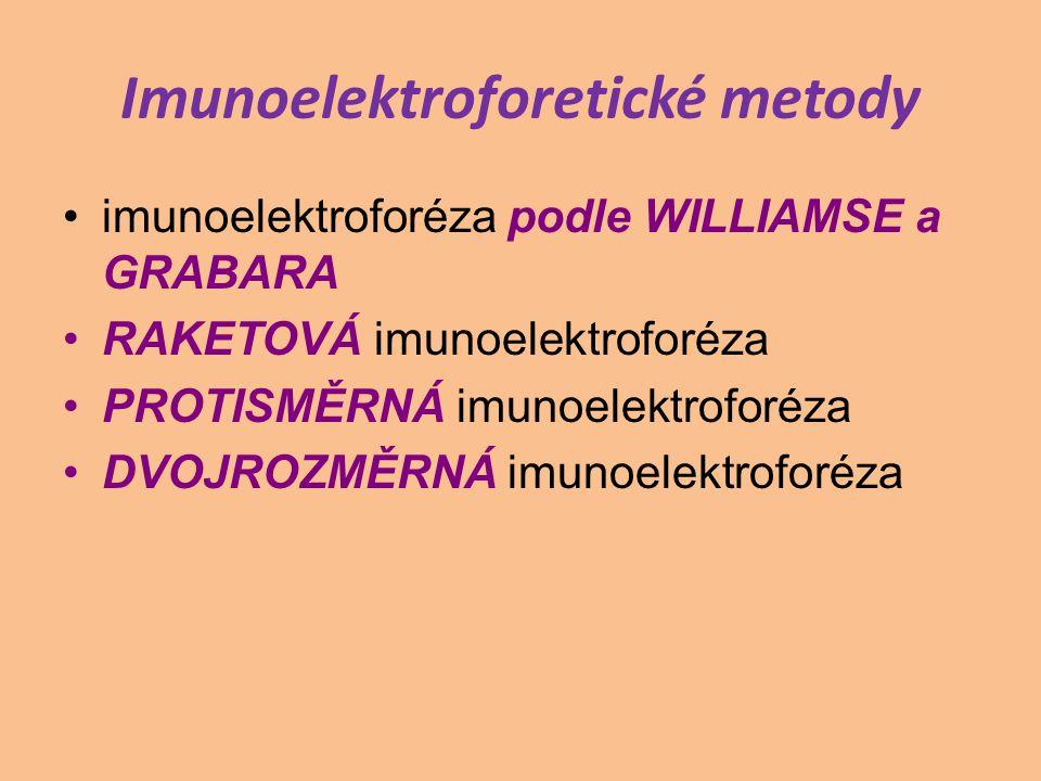 Imunoelektroforetické metody imunoelektroforéza podle WILLIAMSE a GRABARA RAKETOVÁ imunoelektroforéza PROTISMĚRNÁ imunoelektroforéza DVOJROZMĚRNÁ imun