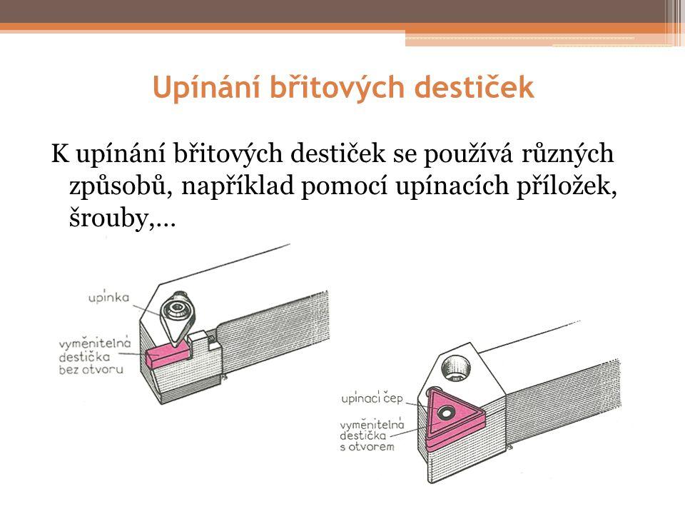 Upínání břitových destiček K upínání břitových destiček se používá různých způsobů, například pomocí upínacích příložek, šrouby,…